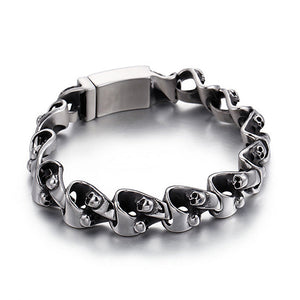 Punk Men 316L Stainless Steel Bracelet Link Skull Fashion 8.7""