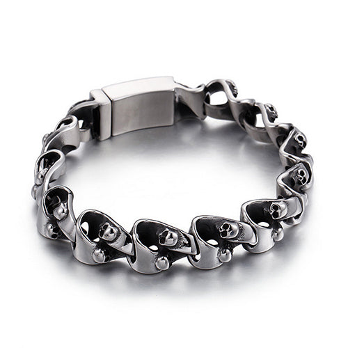 Punk Men 316L Stainless Steel Bracelet Link Skull Fashion 8.7