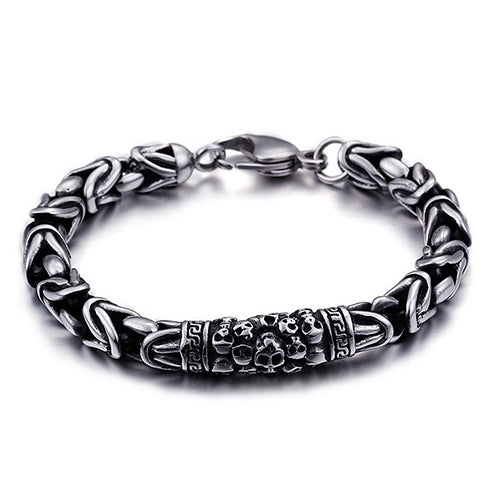 Men 316L Stainless Steel Bracelet Link Skull Braided Fashion 8.7