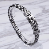 "Men 316L Stainless Steel Bracelet Link Punk Doulbe Braided 6.3""- 8.7"""