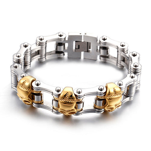 Punk Men 316L Stainless Steel Bracelet Link Biker Skull Fashion 9.1