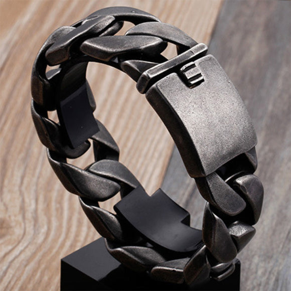 Huge Heavy Punk Men 316L Stainless Steel Bracelet Link Braided Clasp 8.7