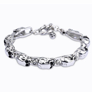 Men 316L Stainless Steel Bracelet Link Skull Fashion 8.7""