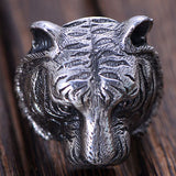 Huge Heavy 925 Sterling Solid Thai Silver Ring Men Biker Tiger Size 8 9 10 11