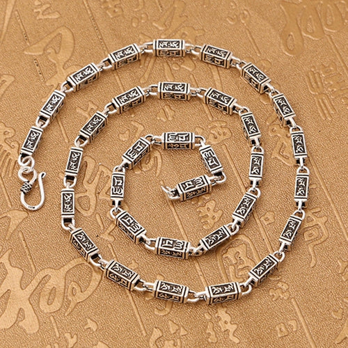 Real 925 Sterling Silver Necklace Om Mani Padme Hum Rectangle Chain 20