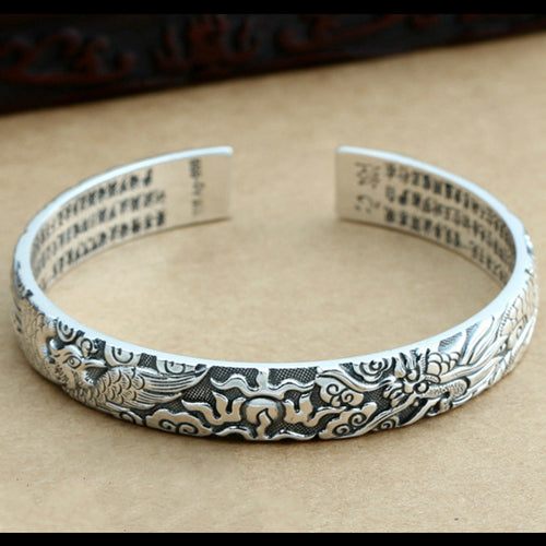 Real Solid 999 Pure Silver Cuff Bracelet Dragon Phoenix Auspicious Jewelry