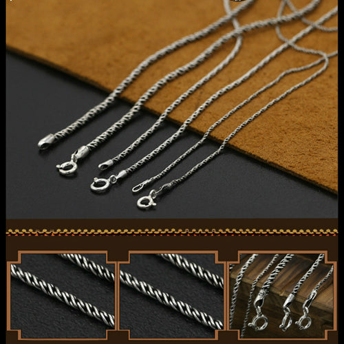 Vintage Real Solid 925 Sterling Silver Necklace Chain Braided Men Women 16