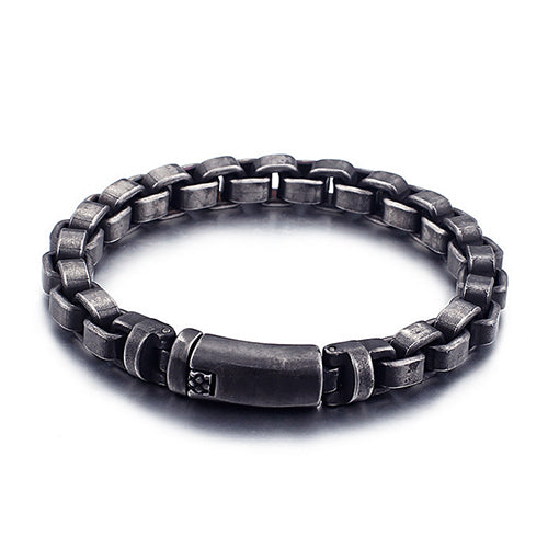 Men 316L Stainless Steel Bracelet Link Personality Retro Concise 8.1''-9.6