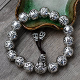 Real 925 Sterling Silver Bracelet Link Chain Beads Lection Om-Mani-Padme-Hum Men