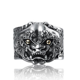 New Real 925 Sterling Silver Ring Men's Mascot PiXiu Adjustable Size 9 10 11 12