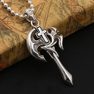 Solid 925 Sterling Thai Silver Pendant Cross Axe Men's  Women's