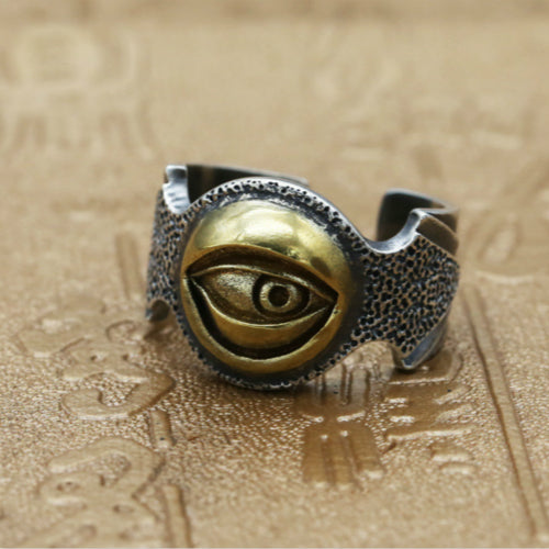 Real 925 Sterling Silver Ring Men's Devil's Eye Adjustable Size 8 9 10 11