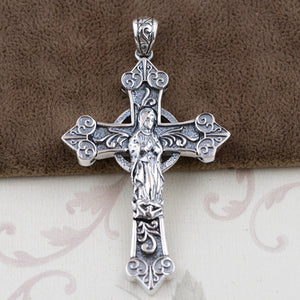 Real Solid 925 Sterling Silver Pendant Virgin Mary Cross Double-Faced