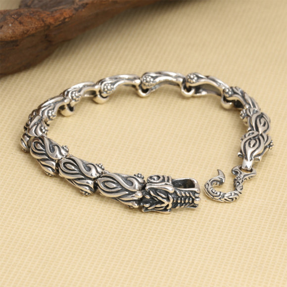 Real 925 Sterling Silver Bracelet Link Flame Dragon Bamboo-Joint Chain