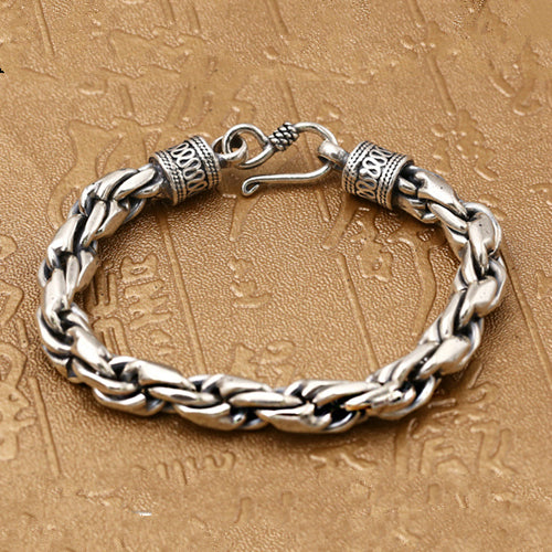 Real 925 Sterling Silver Bracelet Braided Twist Men's
