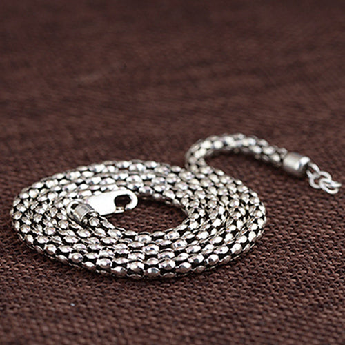 Genuine Solid 925 Sterling Thai Silver Hollow Chain Men's Necklace18