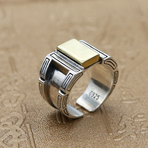 Real 925 Sterling Silver Ring Punk Fashion Brass Inlay Open Size 8 9 10 11
