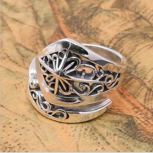 Real 925 Sterling Silver Ring Men Women Arabesquitic Hollow Adjustable Size 7-11