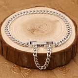 Real 925 Sterling Silver Bracelet Link Concise Simple Braided