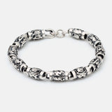 Men's Solid 925 Sterling Silver Bracelet Link Chain Lection Cylinder Jewelry