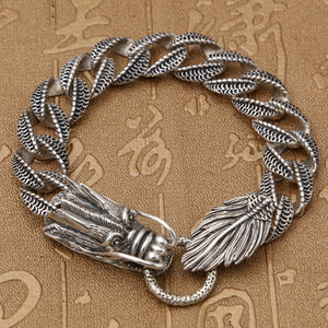 Real 925 Sterling Silver Bracelet Link Dragon Loop Chain