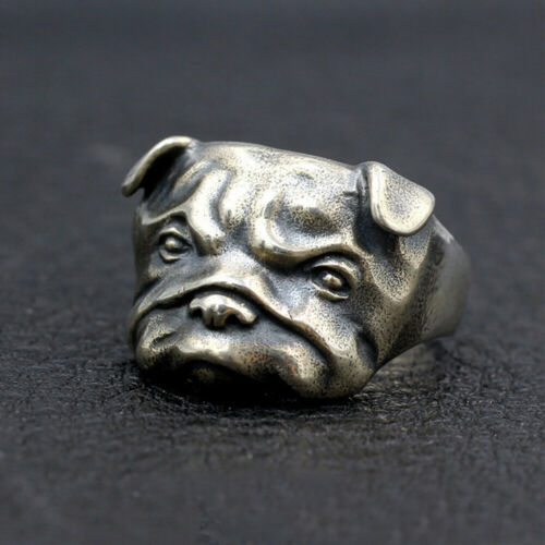 Men's  Real 925 Sterling Silver Ring Animal Dog Bulldog Jewelry Size 8 9 10 11