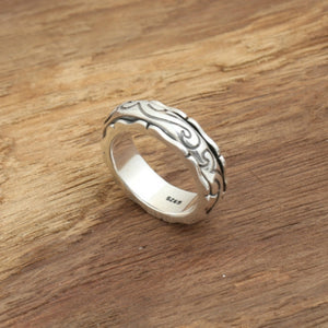 Real 925 Sterling Silver Ring Auspicious Cloud Rotation Size 8 9 10 11