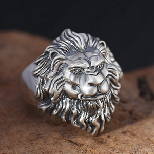 Real 925 Sterling Silver Ring Lion King Adjustable Size 9 10 11