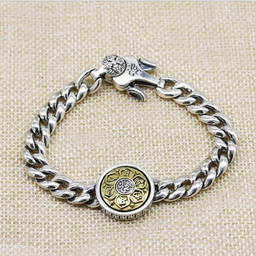 Real 925 Sterling Silver Bracelet Link Vajra Rotation Lection Whip Chain