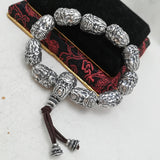 Real 999 Pure Silver Bracelet Link The-duke-guan War-god Beads