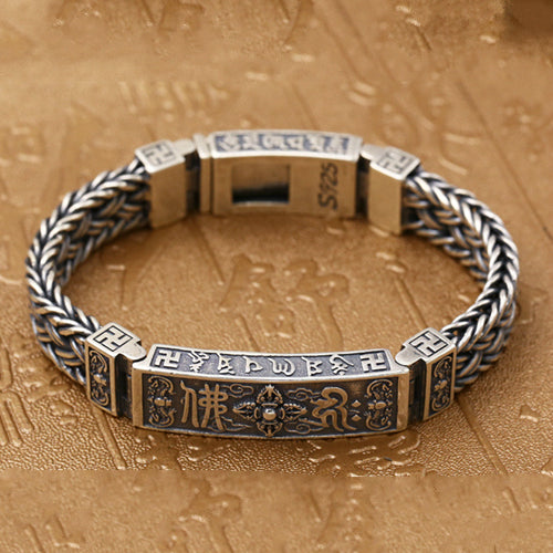 Real 925 Sterling Silver Bracelet Vajra Braided Buddhism Lection