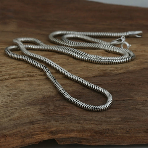Real Solid 925 Sterling Silver Necklace Jakotsu Snake Bones Chain 18