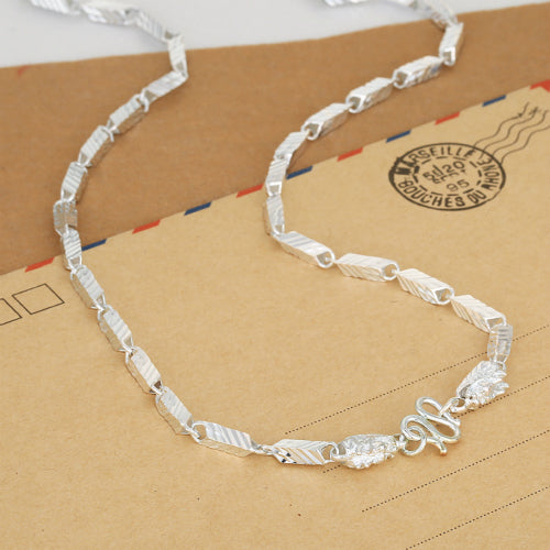 Real 990 Pure Silver Necklace Rhombus Dragon Link Chain 20