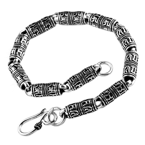 Real 925 Sterling Silver Bracelet Link Chain Buddha Lection 7.5