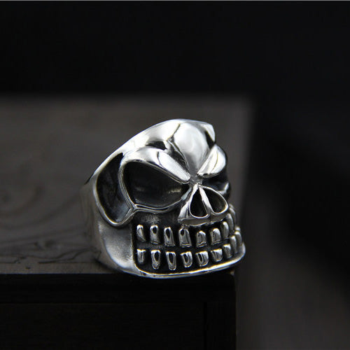 Huge Heavy Solid 925 Sterling Thai Silver Ring Men Fine Biker Skull Size 8 9 9.5