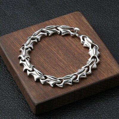 Real 925 Sterling Silver Bracelet Bangle Link Creative Personality 7.9''