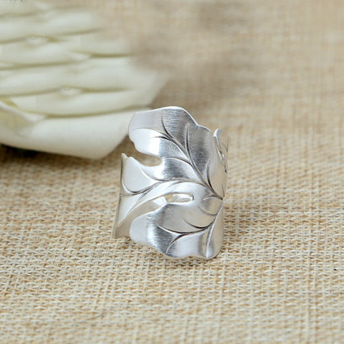 Solid 925 Sterling Silver Ring Handmade Men Women Leaves Size 8 9 10 11 12