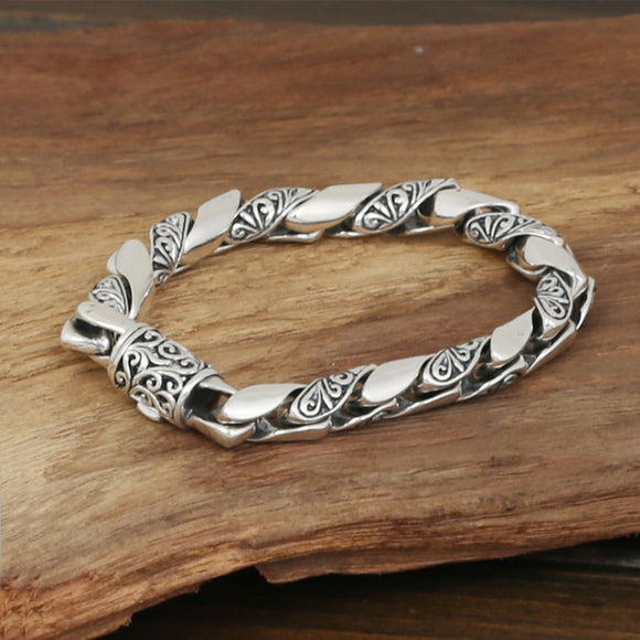 Men's Solid 925 Sterling Silver Bracelet Link Carved Flower Chain Jewelry 8.3