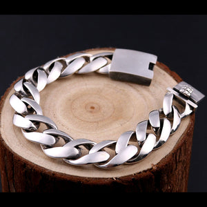 Real 925 Sterling Silver Bracelet Whip Link Chain Simple