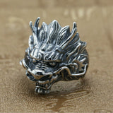 Real 925 Sterling Silver Ring Men's Dragon King Adjustable Size 8 9 10 11