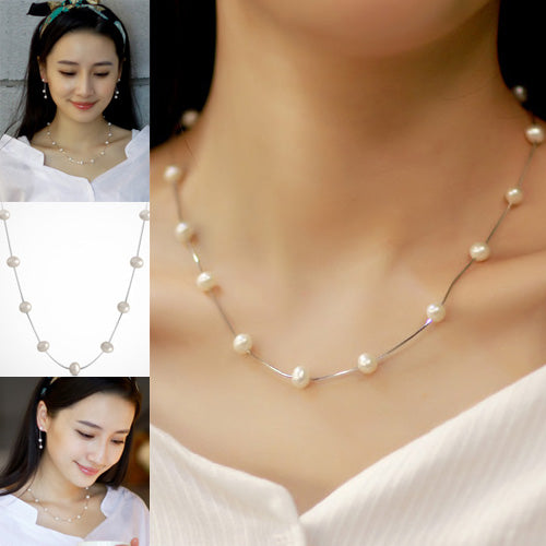 Solid 925 Sterling Silver Necklace Chain Pearl Jewelry 18