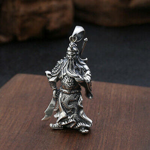 Real 925 Sterling Silver Pendant God-of-War Duke Guan Jewelry