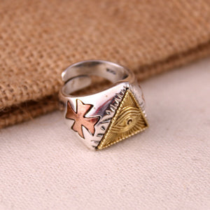 Real Solid 925 Sterling Silver Ring Brass God's Eye Cross Open Size 6 7 8 9 10 11