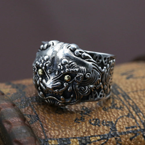 Real 925 Sterling Silver Ring Mythical Animals : Pi Xiu Open Size 9 10 11 12