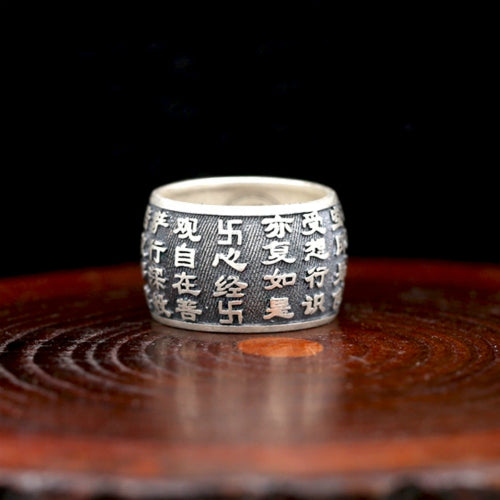 Real 999 Pure Silver Ring Lection Buddhist Scripture Size 8 9 10 11 12