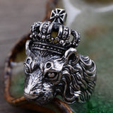 Heavy Solid 925 Sterling Thai Silver Ring Lion King Crown Men Size 8 9 10 11 12