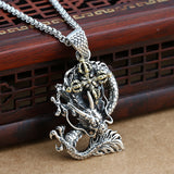 Real Solid 925 Sterling Silver Pendant Vajra for Subduer of Dragons