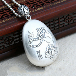 Real 999 Sterling Pure Silver Pendant Lotus flower Sutra Safety