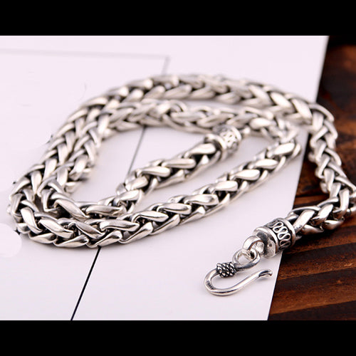 Real Solid 925 Sterling Silver Necklace Braided Chain Men 20