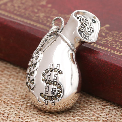 Solid 925 Sterling Thai Silver Pendant Money Bag Gold Coin Men's Women's